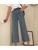 billiga Byxor-Dam Grundläggande Brett skaft / Jeans Byxor - Enfärgad