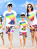 baratos Vestidos Femininos-Olhar de família Básico Praia Arco-Íris Manga Curta Poliéster Conjunto Arco-íris
