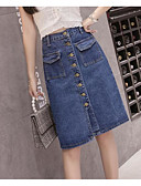 tanie Damska spódnica-Damskie Puszysta Aktywny Bawełna Bodycon Spódnice Solidne kolory Niebiesko-biały, Pofałdowany