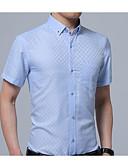 זול חולצות לגברים-Houndstooth צווארון קלאסי מידות גדולות חולצה - בגדי ריקוד גברים / אנא בחר\י מידה אחת גדולה יותר מהמידה הנורמלית שלך. / שרוולים קצרים