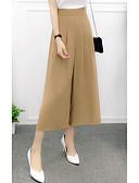 זול מכנסיים לנשים-בגדי ריקוד נשים כותנה משוחרר רגל רחבה מכנסיים אחיד / ליציאה
