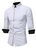 cheap Men's Shirts-Men's Plus Size Cotton Slim Shirt - Solid Colored Standing Collar / Long Sleeve
