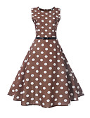 cheap Women's Dresses-Women's Going out Vintage / Street chic Slim A Line Dress - Polka Dot Print / Spring / Summer