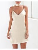 cheap Women's Swimwear & Bikinis-Women's Going out Slim Sheath Dress - Solid Colored V Neck / Strap Gold White M L XL / Sexy
