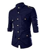 رخيصةأون خصم يصل إلى 90%-رجالي قطن قميص نحيل أساسي / عسكري لون سادة أسود L / مرتفعة / كم طويل