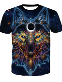 cheap Women's Dresses-Men's Basic / Street chic T-shirt - Color Block / Animal Wolf, Print