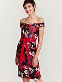 זול שמלות נשים-סירה מתחת לכתפיים עד הברך דפוס, פרחוני - שמלה צינור סקיני מועדונים בגדי ריקוד נשים / אביב / קיץ / דפוסי פרחים
