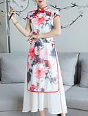 tanie Sukienki-Damskie Linia A Sukienka Kołnierz stawiany Midi