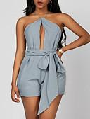 olcso Női ruhák-Női Tengerpart Pántos Szürke Háremnadrág Rugdalózók, Egyszínű M L XL Ujjatlan / Sexy