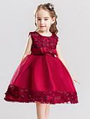 povoljno Haljine za male djeveruše-Djeca Djevojčice slatko Jednobojni Bez rukávů Haljina Crvena