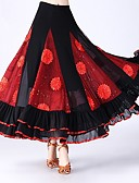 economico Abbigliamento balli da sala-Balli da sala Pantaloni Per donna Prestazioni Tulle Motivo floreale di perle / Con ruche / Più materiali Naturale Gonne