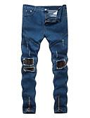 billige T-shirts og undertrøjer til herrer-Herre Bomuld Tynd Jeans Bukser Ensfarvet