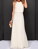 رخيصةأون فساتين طويلة-فستان نسائي شيفون أنيق مطوي طويل للأرض لون سادة قبة مرتفعة حول الرقبة مناسب للحفلات