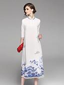 abordables Vestidos de Mujer-Mujer Vintage / Tejido Oriental Corte Swing Vestido - Bordado, Bloques Midi