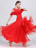 baratos Vestidos de Coquetel-Dança de Salão Vestidos Mulheres Espetáculo Chiffon / Georgette / Fibra de Leite Pregueado / Babados em Cascata Sem Manga Alto Vestido