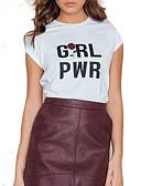 baratos Tops Femininos-Mulheres Camiseta - Para Noite Letra