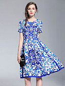 baratos Vestidos Estampados-Mulheres Boho / Moda de Rua Evasê Vestido - Estampado, Estampado Cashemere Altura dos Joelhos