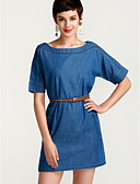 cheap Women's Dresses-Women's Plus Size Street chic Denim Dress - Solid Colored Blue / Spring / Summer / Fall