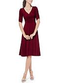 baratos Vestidos de Mulher-Mulheres Moda de Rua Delgado Bainha Vestido Sólido Decote V Cintura Alta Altura dos Joelhos / Sexy
