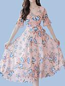 ieftine Rochii de Damă-Pentru femei Șic Stradă / Sofisticat Mărime Plus Size Zvelt Pantaloni - Floral Imprimeu Albastru piscină / În V / Ieșire