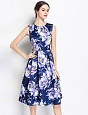 baratos Vestidos Plus Size-Mulheres Vintage / Moda de Rua Evasê / balanço Vestido - Franzido / Pregueado / Franjas, Sólido / Floral / Geométrica Altura dos Joelhos