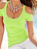 tanie T-shirt-T-shirt Damskie Bawełna Dekolt w kształcie litery U Solidne kolory / Wycięcie