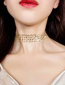 hesapli Maksi Elbiseler-Kadın's Gerdanlıklar Halat Basit Avrupa Moda Dantel alaşım Altın Gümüş 30 cm Kolyeler Mücevher 1pc Uyumluluk Parti / Gece