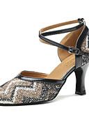 cheap Women's Dresses-Women's Modern Shoes Satin Heel Paillette Cuban Heel Dance Shoes Blue / Nude