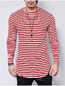 ieftine Maieu & Tricouri Bărbați-Bărbați Rotund Tricou Dungi / Manșon Lung