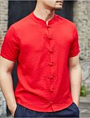 cheap Women's Belt-Men's Chinoiserie Shirt - Solid Colored