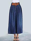tanie Damska spódnica-Damskie Jeans Maxi Linia A Spódnice - Wyjściowe Solidne kolory Wysoka talia