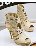 baratos Biquínis e Roupas de Banho Femininas-Mulheres Sapatos Couro Ecológico Verão Conforto Sandálias Salto Agulha Dourado / Branco / Preto