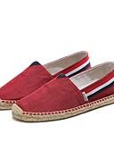 abordables Ropa Sexy de Mujer-Hombre Tela Verano Confort Zapatos de taco bajo y Slip-On Rojo / Azul / Caqui