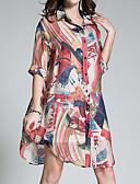 baratos Blusas Femininas-Mulheres Camisa Social Activo / Moda de Rua Estampado, Geométrica