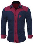 ieftine Tricou Bărbați-Bărbați Cămașă Muncă Afacere - Bloc Culoare / Manșon Lung