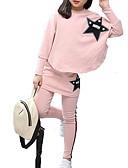 billige Tøjsæt til piger-Børn Pige Basale Ensfarvet Langærmet Polyester Tøjsæt Lyserød