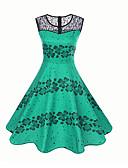 baratos Vestidos Vintage-Mulheres Vintage balanço Vestido - Estampado, Floral Altura dos Joelhos