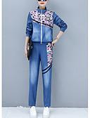 tanie Dwuczęściowe komplety damskie-Damskie Wyjściowe Bluza z Kapturem Kwiaty Kołnierz stawiany Nogawka