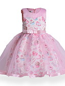 رخيصةأون فساتين البنات-فستان فوق الركبة بدون كم طباعة هندسي رياضي Active للفتيات أطفال