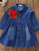 Χαμηλού Κόστους Βρεφικά φορέματα-Μωρό Κοριτσίστικα Βίντατζ / Πανκ & Γκόθικ Καθημερινά / Αργίες Φλοράλ Κεντητό Μακρυμάνικο Πάνω από το Γόνατο Spandex Φόρεμα Θαλασσί / Νήπιο