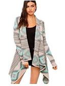 tanie Swetry damskie-Damskie Bawełna Podstawowy Kołnierzyk koszuli Sweter rozpinany - Nadruk, Geometric Shape Długi rękaw / Jesień