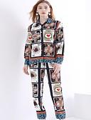 abordables Trajes de Dos Piezas de Mujer-Mujer Básico Conjunto - Floral Pantalón