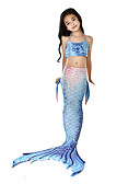 cheap Girls' Dresses-The Little Mermaid Aqua Princess Swimwear Bikini Costume Kid's Girls' Vintage Christmas Halloween Carnival Festival / Holiday Lycra Ink Blue Carnival Costumes Mermaid
