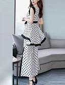 ieftine Costum Damă Două Bucăți-Pentru femei Mărime Plus Size Șic Stradă / Sofisticat Muncă Larg Lung Set - Buline, Pantaloni Funde / Crăpătură / Vară