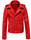 cheap Women's Leather & Faux Leather Jackets-women's pu leather jacket - solid colored