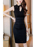 cheap Women's Coats & Trench Coats-Women's Going out / Weekend Slim Bodycon Dress High Waist V Neck Cotton Black M L XL / Sexy