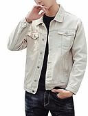 رخيصةأون قمصان رجالي-للرجال جواكيت جينز سادة, قبعة القميص / كم طويل