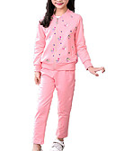 cheap Girls' Clothing Sets-Kids Girls' Basic Solid Colored Long Sleeve Polyester Clothing Set Pink
