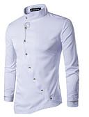 baratos Camisas Masculinas-Homens Camisa Social Básico / Moda de Rua Sólido