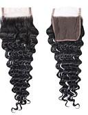 olcso Melltartók-Fulgent  Sun Brazil haj / Mély hullám 4x4 lezárása Hullámos Ingyenes rész Svájci csipke Emberi haj Női Legjobb minőség / Csipkezárás Karácsony / Karácsonyi ajándékok / Esküvő